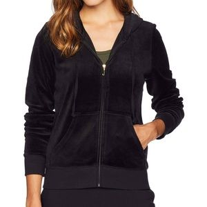 Juicy Couture Black Velour Jacket with Pink Logo
